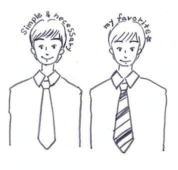ネクタイの揃える
