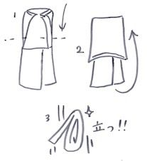 Tシャツを立てて収納する図