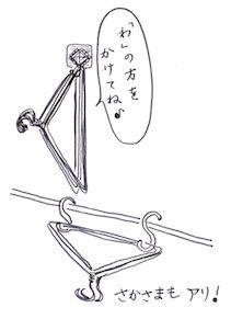 フックに掛ける針金ハンガー