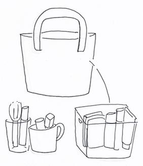 メイクは、普段使っている物と、特別の日に使う物に分けて収納