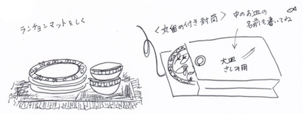 ランチョンマットや丸留め付き封筒に食器を仕舞う