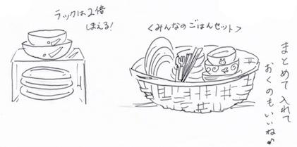 食器棚の仕切り収納