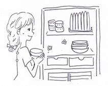 お椀や茶碗を仕舞う場所