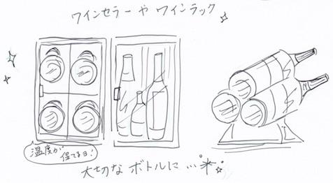 ワインセラーやワインラックに収納