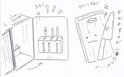 シンクの下の棚の扉に包丁を収納