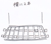 突っ張り棒を横に2本の図