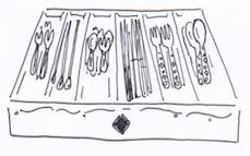 引き出しにスプーン、フォーク、箸を収納