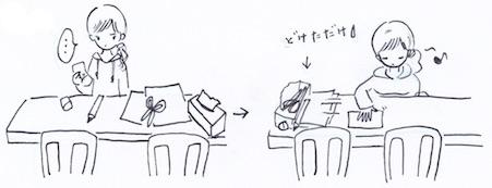ダイニングテーブルの上の片付け
