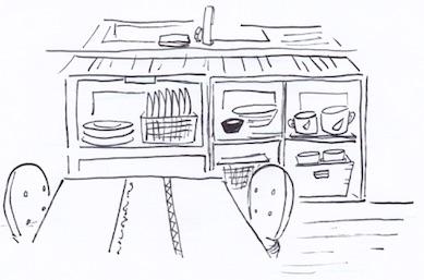 ダイニングテーブルで良く使うモノをまとめて収納