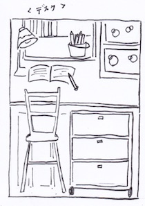 クローゼットの棚をデスクにして勉強道具や文具も収納