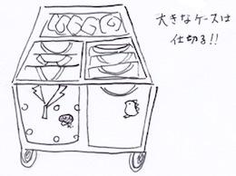 大きな収納ケースは小さな収納ケースで仕切る