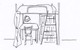 ロフトベッドの下が収納場所になる方法