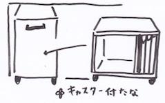 キャスター付きの収納ケースや棚
