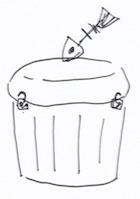ゴミ箱のストッパに壁フックを活用