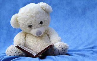クマのぬいぐるみと絵本