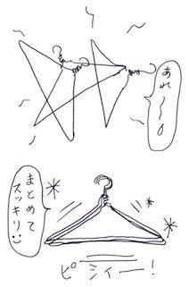絡まる針金ハンガー