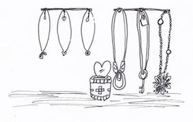 長さで分けるネックレス収納