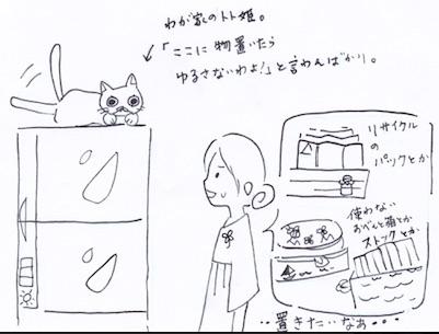 冷蔵庫上の収納術